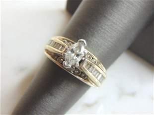 Womens Vintage 14k White Gold Marquise Diamond Ring
