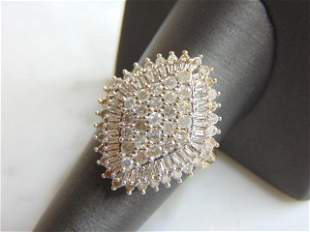 Womens Vintage 14K Yellow Gold 2.5cts Diamond Ring