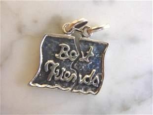 Womens Vintage Sterling Silver BEST FRIEND Pendant