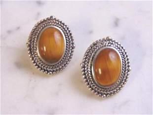 Womens Vintage Sterling Silver Tiger's Eye Earrings