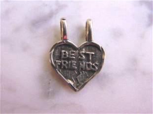 "Womens Vintage Sterling Silver ""BEST FRIEND"" Pendant"