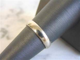 Mens Vintage Estate 14K White Gold Wedding Band Ring