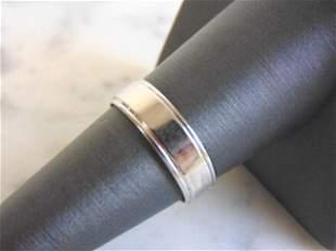 Mens Vintage Estate 10K White Gold Wedding Band Ring