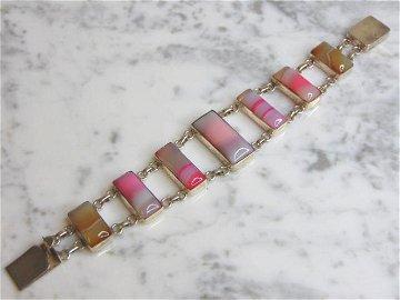 Womens Vintage Estate Sterling Silver Agate Bracelet