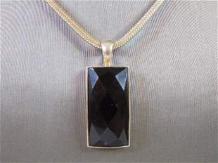 Womens Vintage Sterling Silver Necklace w/ Onyx Pendant