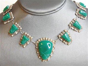 Womens Vintage Sterling Silver Aventurine Necklace