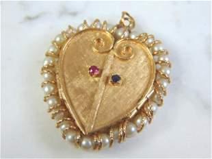 Womens Vintage Estate 14k Yellow Gold Heart Locket