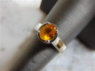 Womens 14K White Gold Ring w/ Zircon Stone & Diamonds