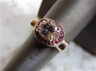 Womens Vintage 14K White Gold Ring w/ Garnets & CZ