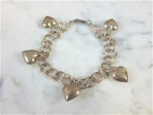 Vintage Estate Sterling Silver Heart Charm Bracelet