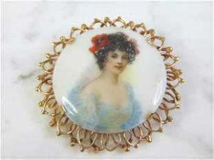 Vintage Estate 14K Gold Hand Painted Porcelain Brooch