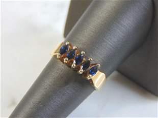 Womens Vintage Estate 10k Gold Ring w/ Blue Sapphire