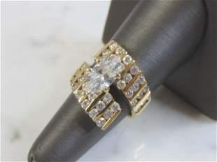 Vintage Estate Womens 14K Yellow Gold Ring w/ CZ Stones