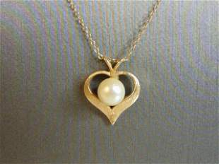 Vintage 14K Yellow Gold Necklace & Gold Heart Pendant