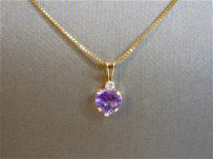 Vintage 10K Gold Amethyst & Diamond Pendant w/ Necklace