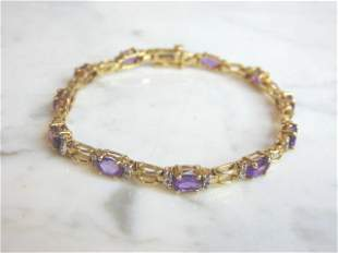 Womens 14k Yellow Gold Bracelet w/ Amethyst & Diamonds