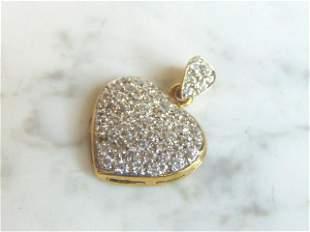 Womens Vintage Estate Sterling Silver Heart Pendant