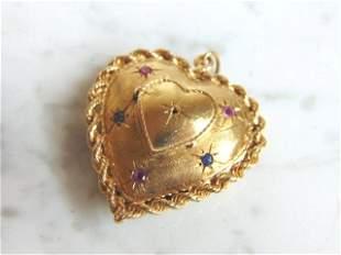 Womens 14K Yellow Gold Heart Locket Pendant