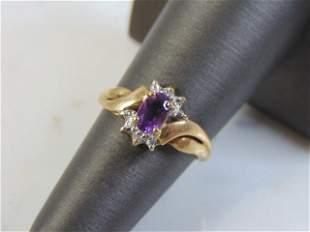 Womens Vintage Estate 10k Gold Ring w/ Purple Amethyst
