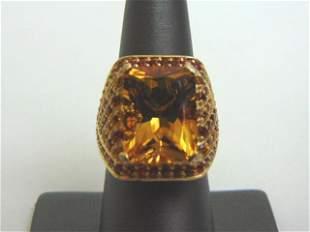 Womens Estate 14K Yellow Gold Ring w/ Citrine Stone