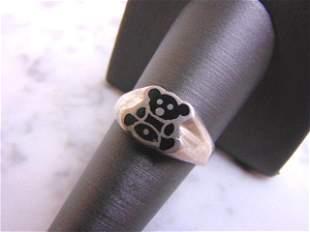 Womens Vintage Estate Sterling Silver Teddy Bear Ring