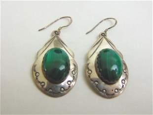 Womens Sterling Silver Malachite Earrings
