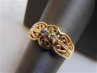 Women's Vintage Estate 14K Gold Multi Stone Ring