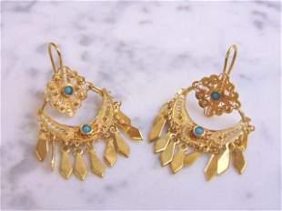 Womens Vintage Estate 18K Yellow Gold Filigree Earrings