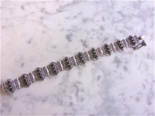 Womens Vintage Estate Sterling Silver Bracelet w/ Onyx