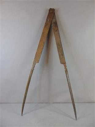 Large Antique Iron Free Masons Compass Tool Instrument