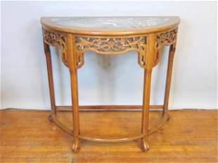 Antique Chinese Mahogany Half Moon Entrance Table