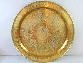 Large Vintage Antique Chinese Dragon Brass Tray