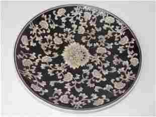 FLORAL CHINESE PORCELAIN CHARGER BOWL CENTERPIECE