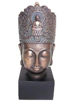 FENG SHUI BUDDHA BUST W/ BRONZE FINISH
