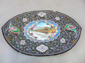 VINTAGE TURKISH OR PERSIAN HAND PAINTED ENAMEL CHARGER