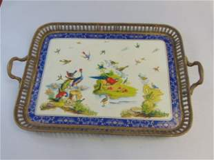 Decorative Victorian Style Porcelain Bronze Tray