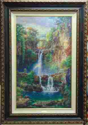 AMAZING CAO YONG SERIGRAPH SACRED POOLS PAINTING