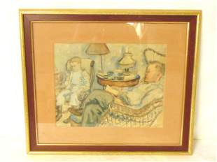 VINTAGE ANTIQUE ARTIST SIGNED WATERCOLOR PAINTING