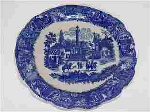 BLUE & WHITE TRANSFERWARE PORCELAIN CHARGER PLATE