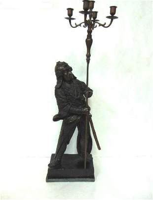 VINTAGE BRONZE CHINESE WARRIOR WITH CANDLE HOLDER