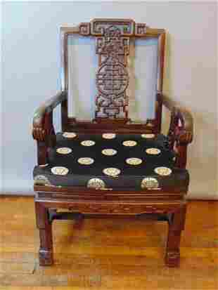 Decorative Vintage Chinese Rosewood Side Arm Chair