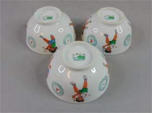 LOT OF 3 VINTAGE CHINESE PORCELAIN RICE BOWLS PING PONG