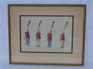 VINTAGE ANTIQUE CHINESE HAND COLORED PRINT OF SOLDIERS