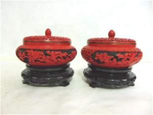 Pr Vintage Chinese Cinnabar Covered Boxes w/ Enamel