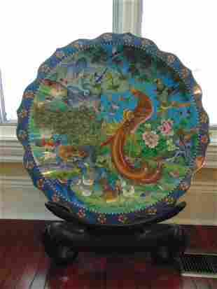 RARE HUGE EXQUISITE CHINESE CLOISONNE CHARGER