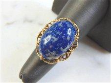 Womens Vintage Estate 14k Yellow Gold Lapis Lazuli Ring