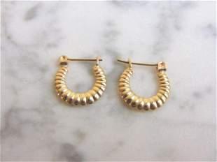 Pr Womens 14K Yellow Gold Hoop Earrings