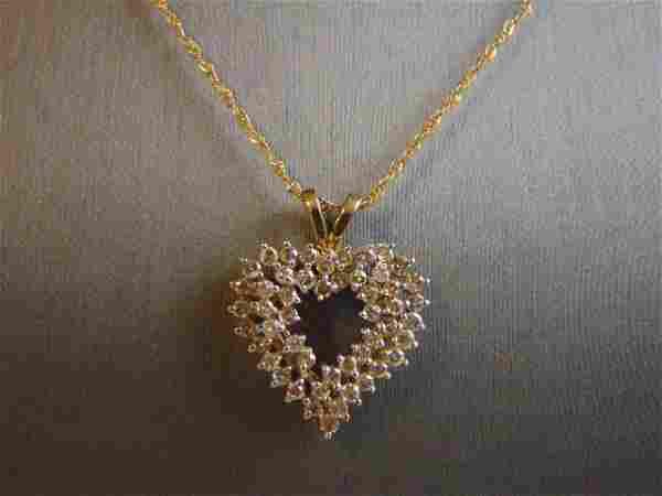 Vintage 10K Gold Necklace w/ Diamond Heart Pendant