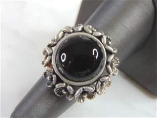 Womens Vintage Estate Sterling Silver Marcasite Ring