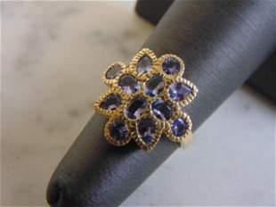 Womens Vintage Estate 10k Yellow Gold Iolite ? Ring